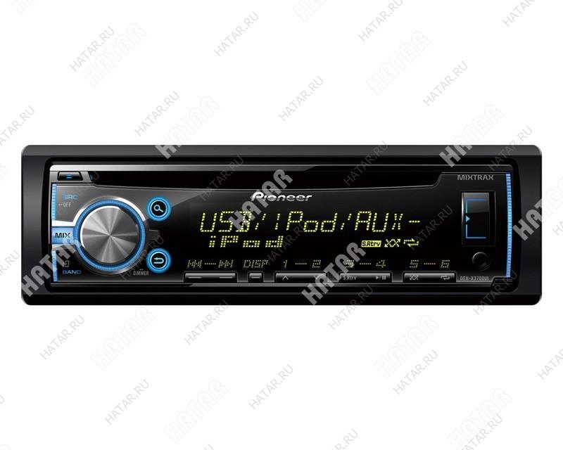 PIONEER  Deh-x3700ui pioneer 4x50 вт, тюнер (fm, св), cd, mp3, wma, поддержка ipod, выход на сабвуфер, разъем usb, многоцветный дисплей, 1 din