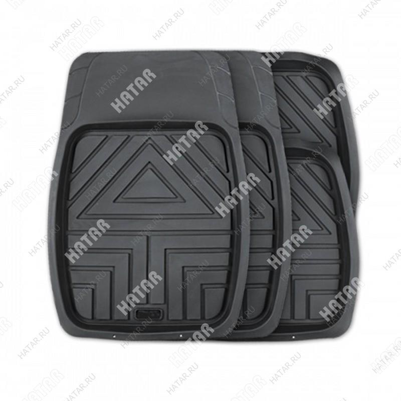 AUTOPROFI Коврики автомобильные arrow, универсальные, ванночки, комплект 4 предметов, чёрный,