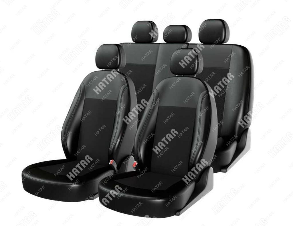 CARFASHION Чехлы на сиденья «atom leather» универсальные, черный/черный/черный