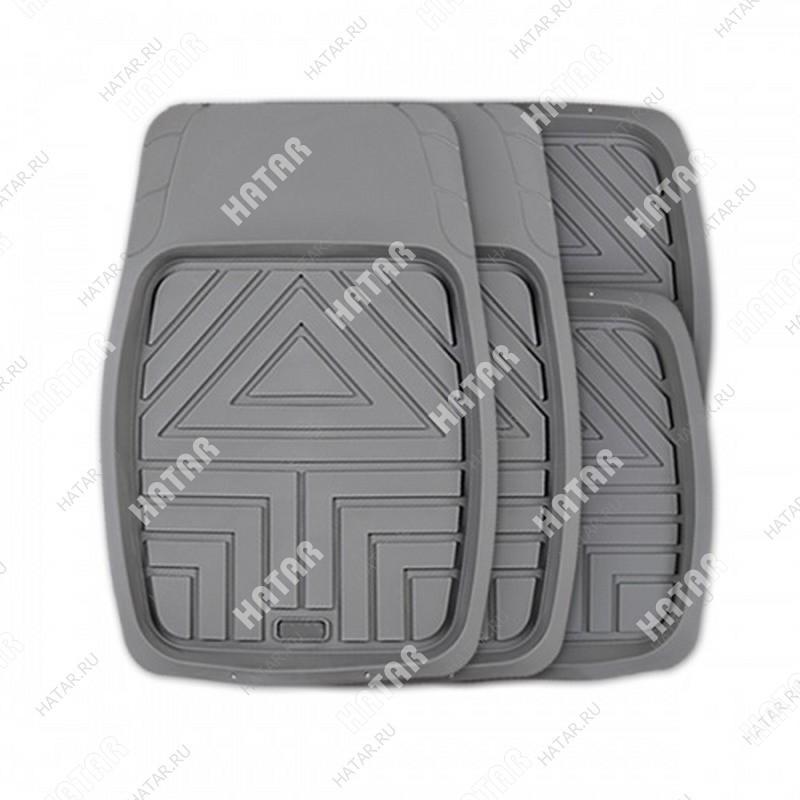 AUTOPROFI Коврики автомобильные arrow, универсальные, ванночки, комплект 4 предметов, серый,
