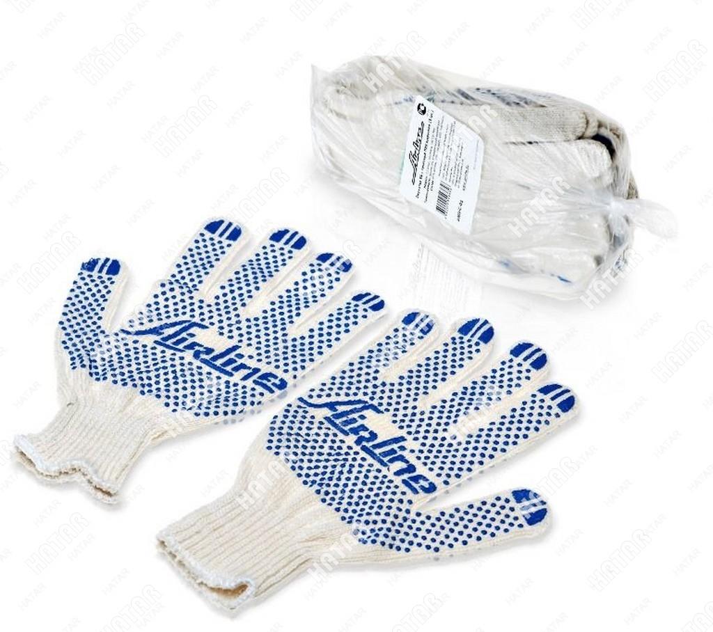 AIRLINE Перчатки хб с пвх покрытием, белые, (1 пара), 42гр., 150т/7,5 класс