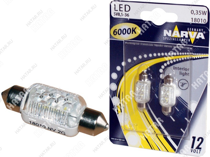 NARVA Лампа led c5w 10.5*38 fest 12v 0.35w 6000k (2шт)