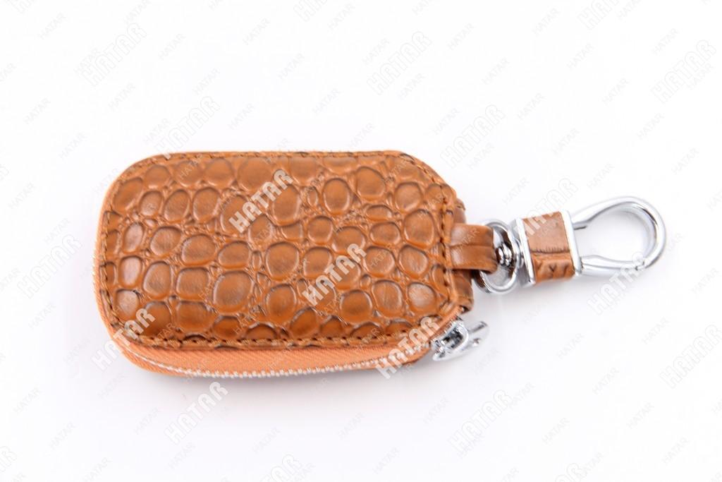 SUP Брелок-ключница кожаный на замке коричневый