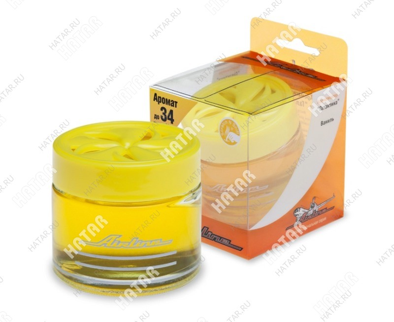 """AIRLINE """"галактика"""" ароматизатор банка ваниль (желтый цвет)"""