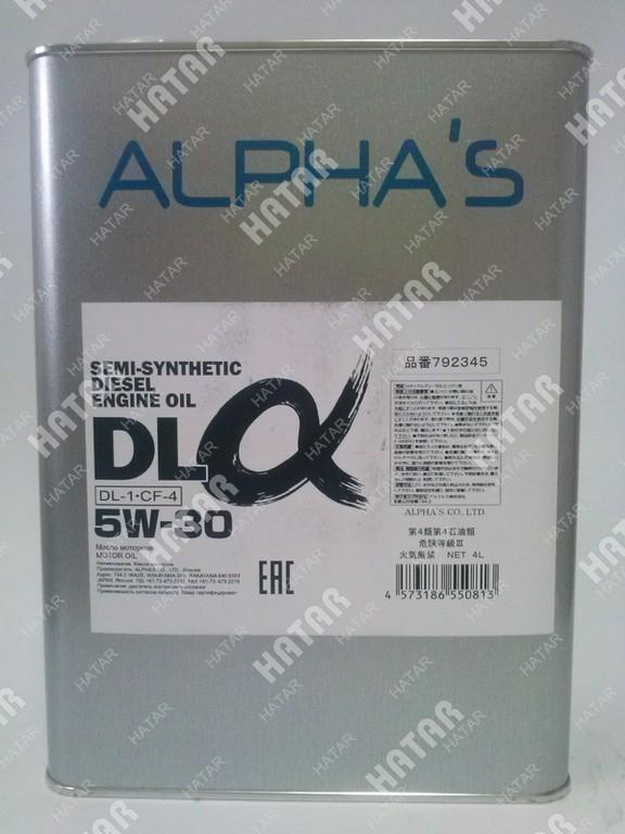 ALPHAS 5w30 dl-α масло моторное полусинтетика дизель, оснащенный сажевым фильтром dl-1/cf-4 4л