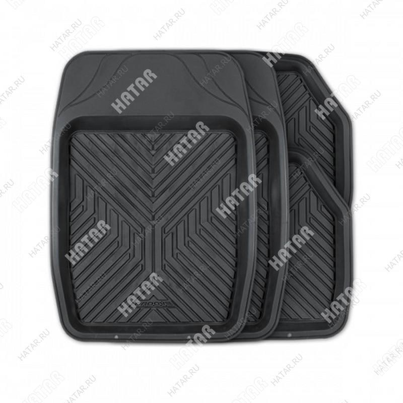 AUTOPROFI Коврики автомобильные groove, универсальные, ванночки, комплект 4 предметов, чёрный