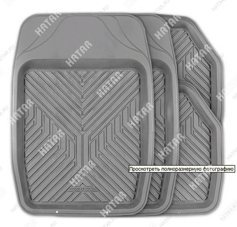 AUTOPROFI Коврики автомобильные, универсальные, ванночки, комплект из 4 предметов, пвх серый