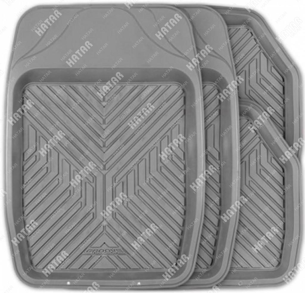 AUTOPROFI Коврики автомобильные groove, универсальные, ванночки, комплект 4 предметов, серый