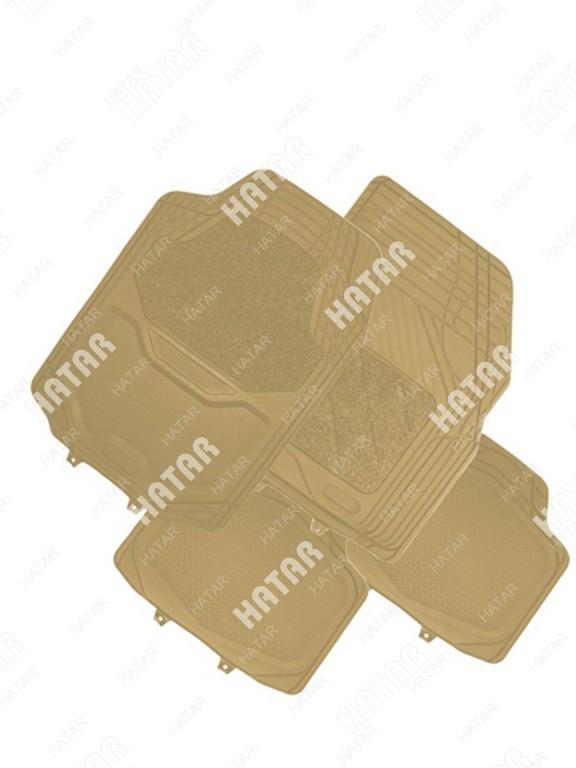 ISKY Коврики в салон, пвх+ворс, канавки для выреза, ворс вставка isky all mode к-т 4 шт., беж.