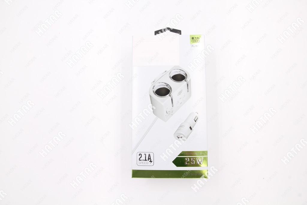 AOLIKE Адаптер/разветвитель прикуривателя 2 гнезда +usb 2.1a