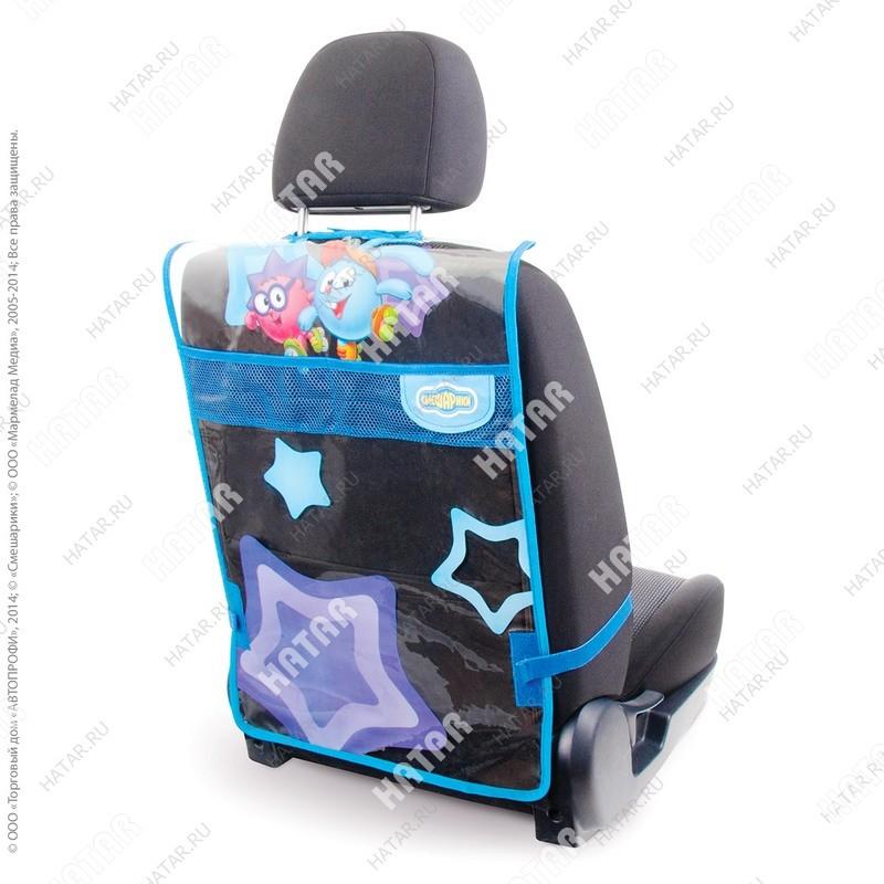 """AUTOPROFI Кикмат """"смешарики"""", из мягкого, прозрачного пвх, для защиты спинки пер. сиденья от ног ребёнка"""