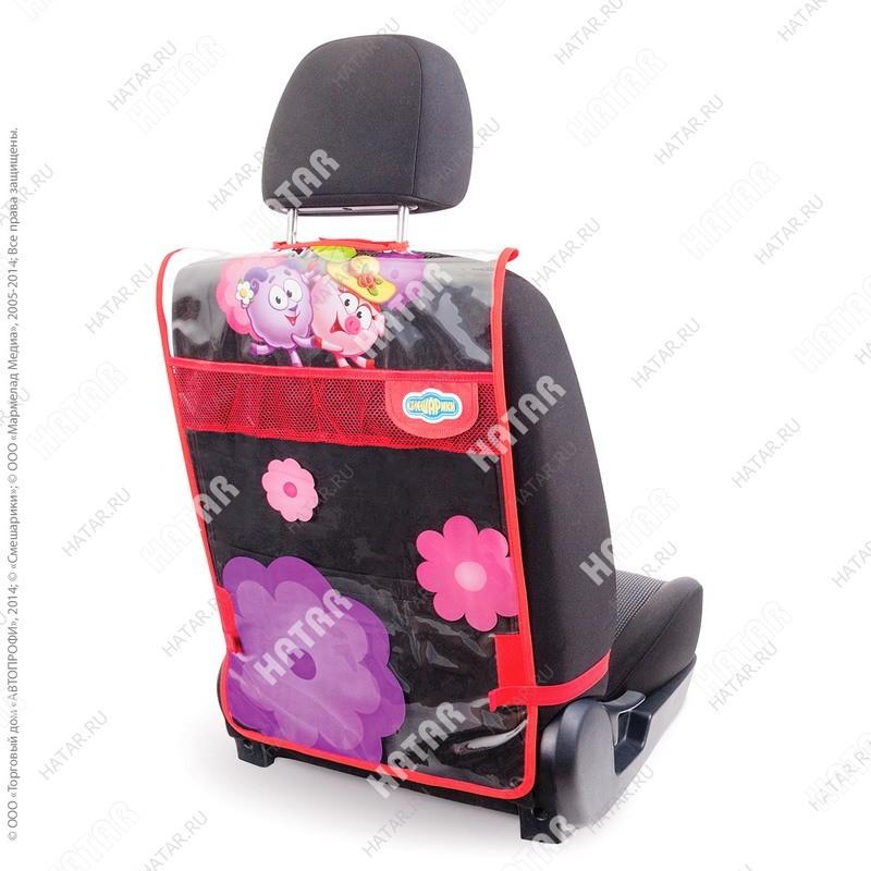 """AUTOPROFI Кикмат """"смешарики"""" из мягкого, прозрачного пвх, для защиты спинки пер. сиденья от ног ребёнка"""