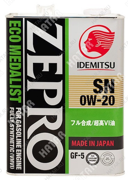 IDEMITSU Zepro eco medalist 0w20 масло моторное синтетика sn/gf-5 4л