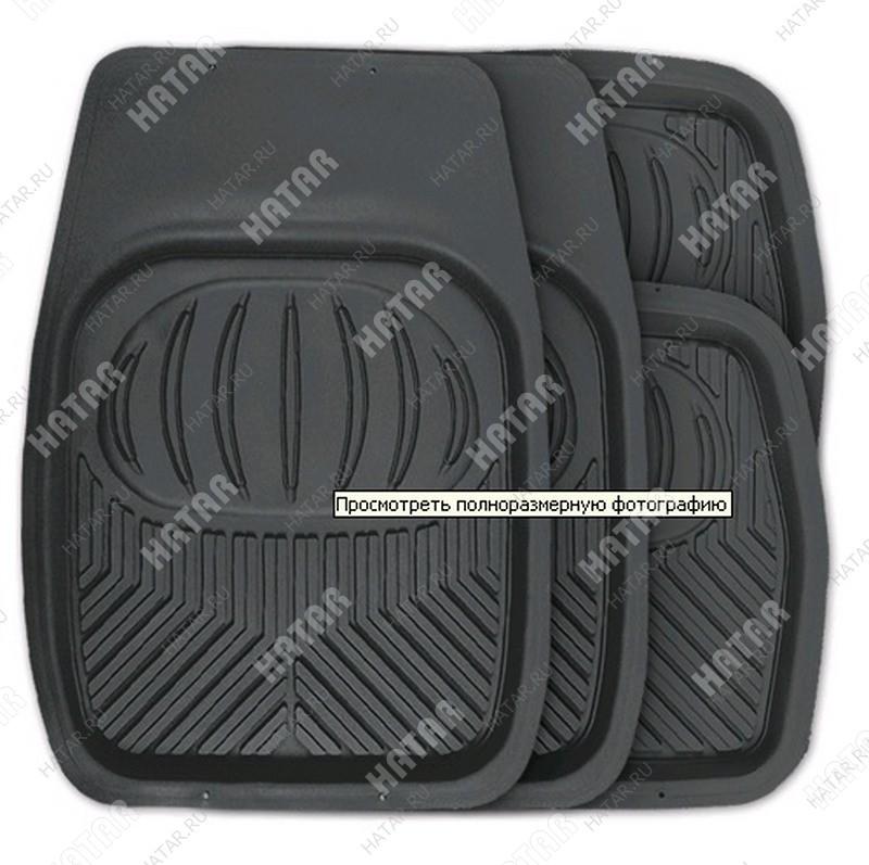 AUTOPROFI Коврики автомобильные, универсальные, ванночки, комплект из 4 предметов, пвх чёрный