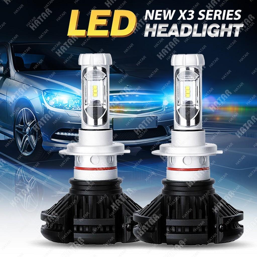 LED HEADLIGHT X3 светодиодная лампа с охлаждением +желтый/синий 2шт