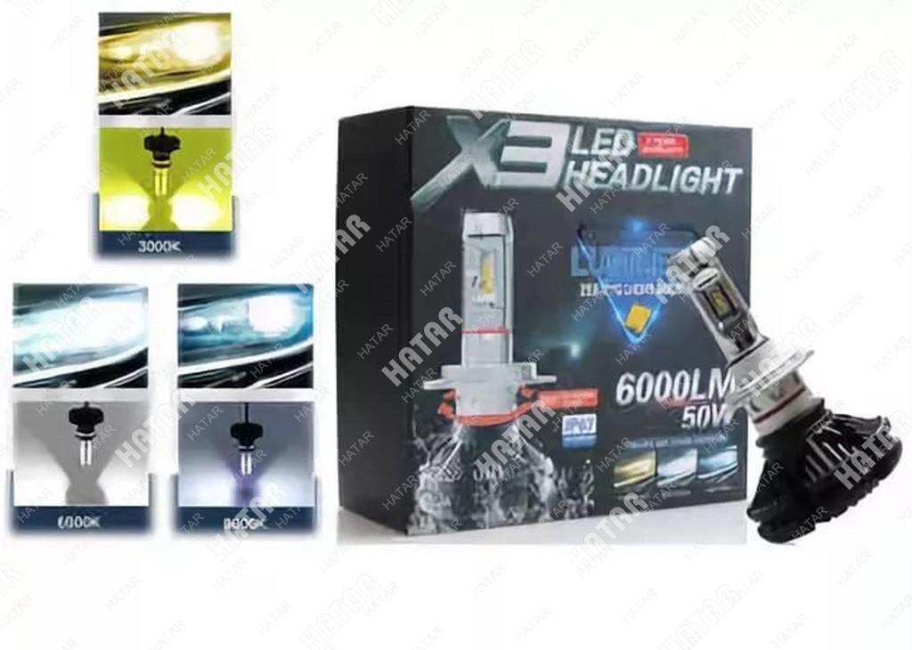 LED HEADLIGHT X3 светодиодная лампа с охлаждением (+желтый/синий) 2шт