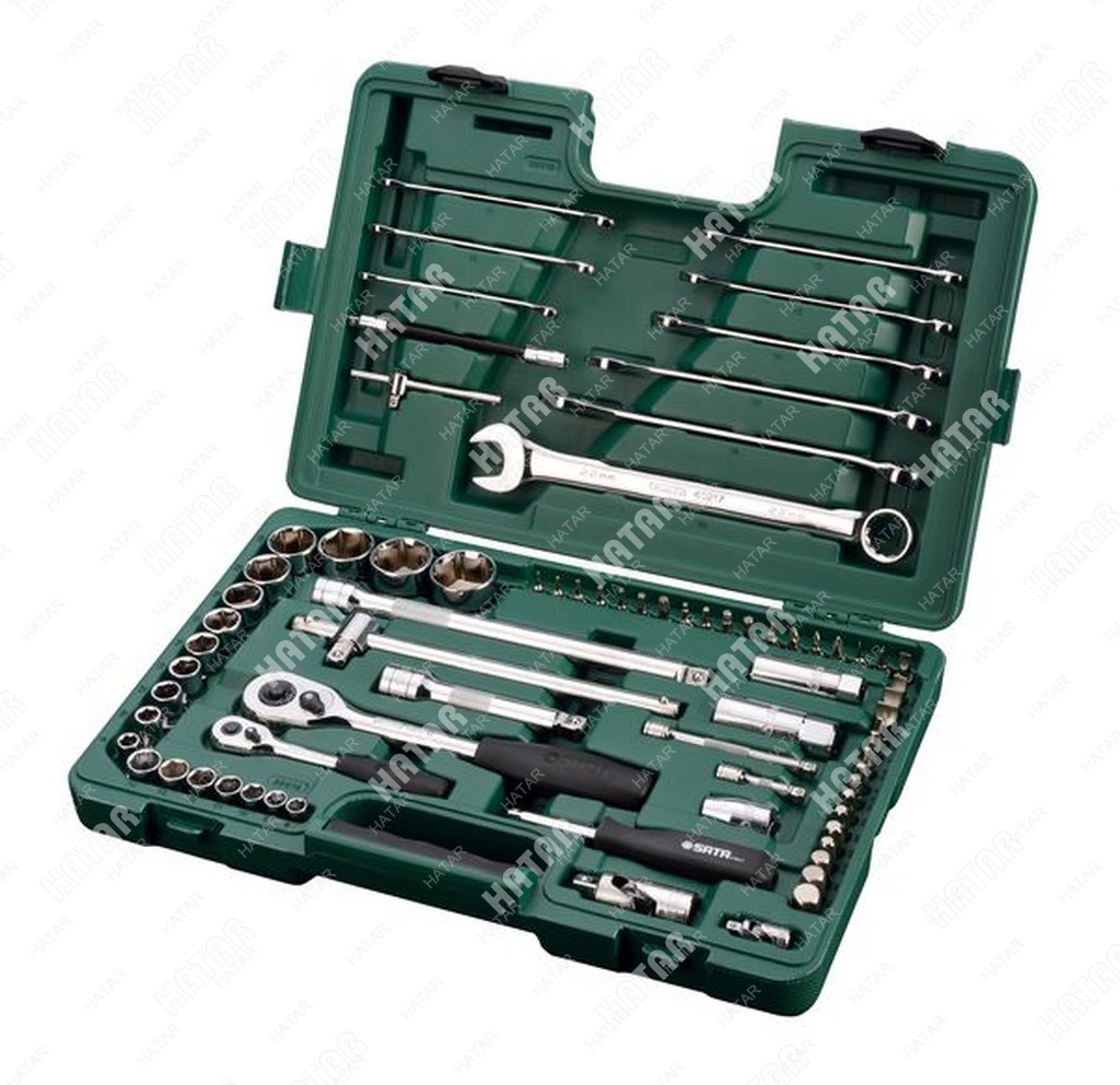 SATA 09519 набор инструмента универсальный sata 1/4 и 1/2dr, торцовые головки 8-32мм, комби ключи